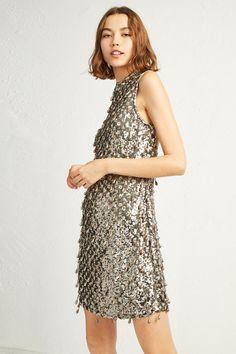 fbe38c9973f edda sparkle tear drop bodycon dress Silver Sequin