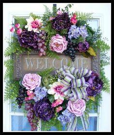 Front Door Wreath with Welcome Sign