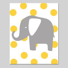 Polka Dot Elephant - 11x14 Print - Kids Wall Art for Nursery - Choose Your Colors - Shown in Gray, Yellow, Aqua, Pink, and More. $25,00, via Etsy.