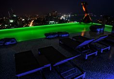 swimming pool on the roof of a hotel with view ovr the city Stefan Johansson, Swimming Pools, Thailand, City, Green, Swiming Pool, Pools, Cities
