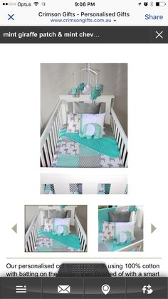 Teal mint & grey baby chevron cot sheet sets Elephants Nursery