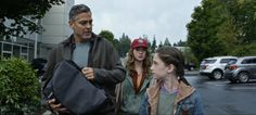 This view of Older Frank (George Clooney). Casey (Britt Robertson) and Athena (Raffey Cassidy) gives us a look at her twisted hair in Disney's Tomorrowland.