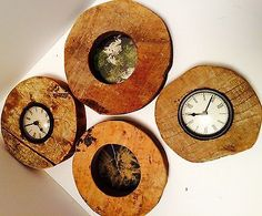Clocks made from vintage wood