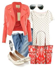 """""""polka dot and coral"""" by fun-to-wear ❤ liked on Polyvore featuring J.Crew, H&M, Accessorize and Floozie by Frost French"""
