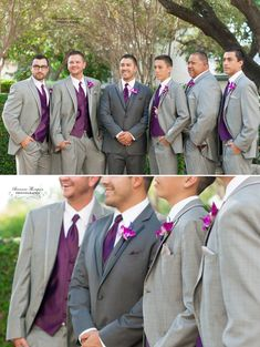 Fall Wedding: Groom and groomsmen: Purple and Gray: Breanna Thompson Photography
