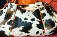 Purse Cow hide color with orange straps Bags