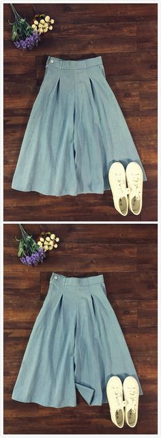 Women's Casual Solid Color Pleated Culottes Cropped Pants