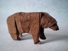 Origami Brown Bear -- Complex instructions, looks like wet-folding