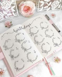Looking for some gorgeous Flower Bullet Journal Ideas? Why not try adding some floral Bullet Journal spreads and pages? We share flower ideas you will love. Bullet Journal Birthday Page, Bullet Journal Diy, Bullet Journal For Beginners, Bullet Journal Notebook, Bullet Journal Themes, Bullet Journal Spread, Bullet Journal Layout, Bullet Journal Inspiration, Journal Ideas