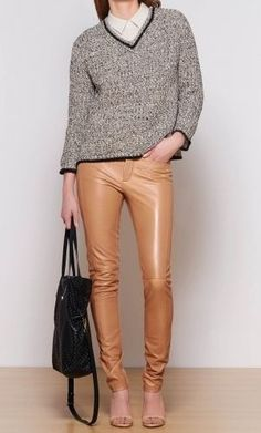 Minimal + Classic: caramel leather pant for spring