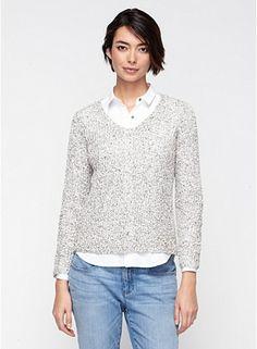 V-Neck Top in Speckled Cotton Knit