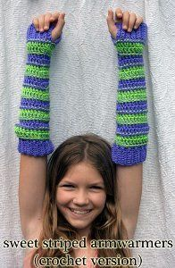 Sweet Striped Arm Warmers ~ easy level ~ can be converted for smaller sizes ~ FREE - CROCHET