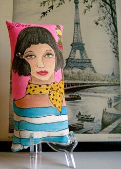 ANGELIQUE Skinni Mini Hand Painted Pillow and by priscillamae