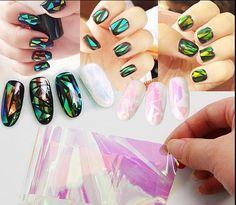 10 см модели взрыва Симфония нерегулярные битое стекло ногтей наклейки ногтей Аврора платины бумаги зеркального стекла бумага1