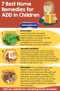 Learn about 7 best home remedies for ADD (attention deficit disorder) in children. These easy tips reduce the intensity of the problem and promote normal behavior. Adhd Medicine, Homeopathic Medicine, Mental And Emotional Health, Mental Health Matters, Home Remedies For Adhd, Add Disorder, Natural Add Remedies