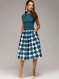 Tbdress.com offers high quality Cap Sleeve Polka Dots Women's Day Dress Day Dresses unit price of $ 26.99.