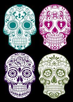 Free Halloween Printables: Day of the Dead Sugar Scull, Sugar Skull Art, Sugar Skull Painting, Mexican Skulls, Mexican Art, Los Muertos Tattoo, Tattoo Caveira, Catrina Tattoo, Totenkopf Tattoos