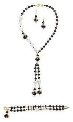 Single-Strand Necklace, Bracelet and Earring Set with SWAROVSKI ELEMENTS, Black Onyx Gemstone Beads and Czech Crackle Glass Beads