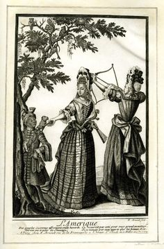 The Four continents Le Amerique- Two ladies in fashionable costume, one aiming at a monkey with a bow, the other holding the hand of a monkey seated on the shoulder of a page 17th Century Fashion, 17th Century Art, Louis Xiv, White Art, Black And White, Baroque Fashion, African American History, Fashion Plates, Images