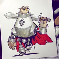Knight Owl commission I never got around to posting. I keep getting asked to draw this guy, which is good, 'cause I like him!