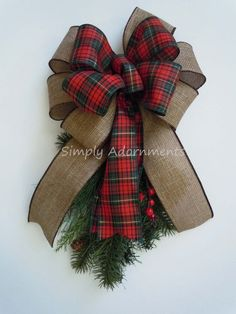 Tartan Woodland Christmas Bow Rustic Burlap Red Green Plaid Bow by SimplyAdornmentsss
