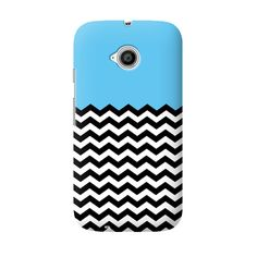 Phone Case: (Moto E 2nd Generation) Solid Blue and B&W Chevron Stripes | Cover It Up