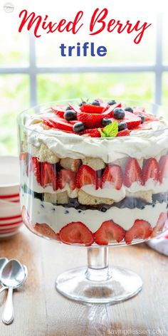 Our Mixed Berry Trifle is made with layers of fresh berries, chunks of sweet pound cake smeared with a little strawberry jam and a luscious vanilla cream custard. This lovely dessert is great for any occasion, its easy to make and it serves a crowd! Summer Dessert Recipes, Desserts For A Crowd, Köstliche Desserts, Delicious Desserts, Yummy Food, Plated Desserts, Trifle Bowl Recipes, Fruit Recipes, Cake Recipes