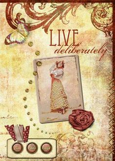 """""""Live Deliberately"""" artist trading card from digital scrapbook place"""