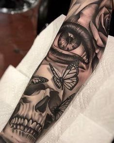 Forarm Tattoos, Cool Arm Tattoos, Dope Tattoos, Arm Tattoos For Guys, Forearm Tattoo Men, Leg Tattoos, Body Art Tattoos, Skull Sleeve Tattoos, Best Sleeve Tattoos