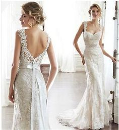 2015 New Backless Lace Mermaid Wedding Dress Sexy Bridal Gown Custom Size 2-18+