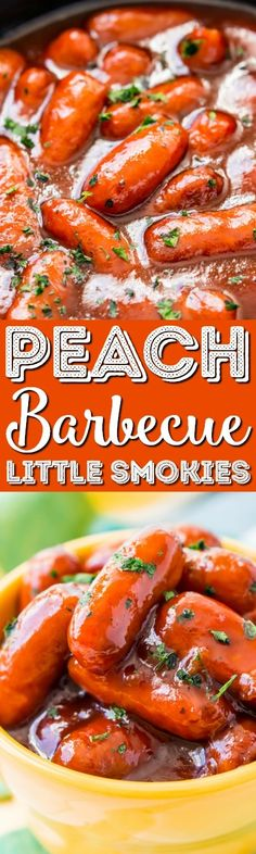 Peach Barbecue Little Smokies Appetizers For A Crowd, Easy Appetizer Recipes, Appetizers For Party, Snack Recipes, Yummy Appetizers, Slow Cooker Recipes, Crockpot Recipes, Crockpot Dishes, Party Food And Drinks