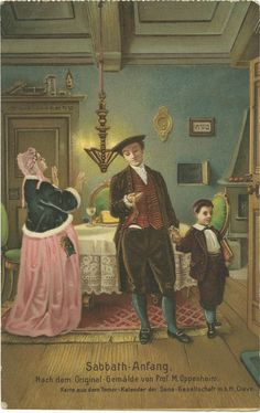 Sabbath-Anfang - Postcard with a reproduction of Moritz Oppenheim's painting Ushering in the Sabbath (Sabbath-Anfang).