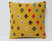 gold decorative pillow 16x16 yellow throw pillow floral kilim pillow floor pillow sham shabby chic home decor shabby chic furniture 23865
