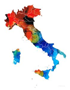 Italy - Italian Map By Sharon Cummings Painting by Sharon Cummings - Italy - Italian Map By Sharon Cummings Fine Art Prints and Posters for Sale #Italy  #italian #italiano #maps