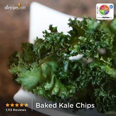Baked Kale Chips from Allrecipes.com #myplate #veggies