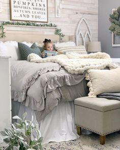 She always seems to find the coziest spots for quiet time! Today is fall break for the kids. Dream Rooms, Dream Bedroom, Home Decor Bedroom, Bedroom Ideas, Farmhouse Master Bedroom, Chelsea, Beautiful Bedrooms, New Room, House Rooms