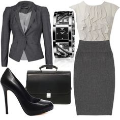 Grey and Black suiting with Black leather portfolio and heels shoes