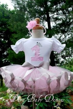 Birthday Tutu Outfit   -Pretty Pretty Princess light pink and silver ribbon tutu set