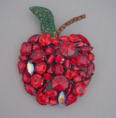 Cristobal red and green rhinestone apple brooch