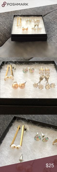 Bundle of 5 earrings - bling and pearls ✨ Lot of five perfectly pretty costume jewelry earrings. Two goldtone (one pair features long dangly gold bars with pearls; the other pair: princess cut CZ studs); rest are silvertone (one pair iridescent rainbow stones; one set of blush pearl studs; one pair of sparkly studs with dangly earring jacket). All suitable for sensitive ears. Will of course be sanitized before sending out. Just trying to clear out my closet... make an offer! 😘 Jewelry…