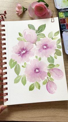 Realistic Flower Drawing, Beautiful Pencil Drawings, Simple Flower Drawing, Easy Flower Drawings, Pencil Drawings Of Flowers, Colorful Drawings, Flower Sketches, Flower Art, Watercolor Flowers Tutorial