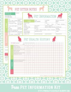 Pet Information Kit Printable from Pinch a Little Save a Lot and Take a look at these 20 Must Have Home Printables to get you Organized for the New Year on Frugal Coupon Living.