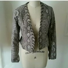 Faux snake skin jacket Faux leather snake skin jacket with lace detail around opening. Gracia Jackets & Coats Blazers