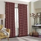 Eclipse Correll 108 in. L Polyester Rod Pocket Curtain in Burgundy (Red) (1-Pack)