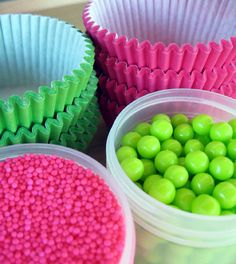 hot pink lime green cupcake baby shower - Google Search