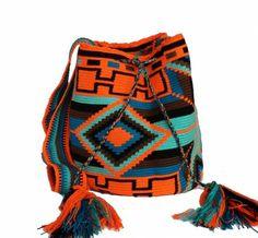 Orange turqoise Mochila Crochet, Crochet Bags, Tapestry Crochet, Baskets, Ethnic, Backpacks, Pattern, Style, Fashion