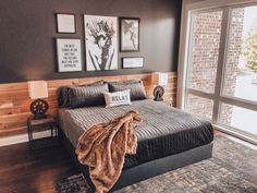 Vacation House in South Nashville Room Ideas Bedroom, Dream Bedroom, Home Decor Bedroom, Bedroom Decor Natural, New Room, Room Inspiration, Interior Design, Green Plants, Masculine Master Bedroom