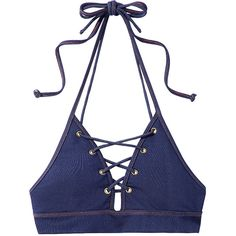 Jonathan Simkhai Denim Lace-Up Bikini Top (€125) ❤ liked on Polyvore featuring swimwear, bikinis, bikini tops, tops, bikini, crop top, denim, swim suit tops, tankini tops and denim bikini swimwear