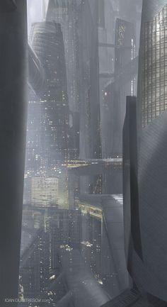 Cyberpunk Atmosphere - Amazing concept art of a futuristic city / sci fi city / gray / techie / digital art / video game Fantasy City, Fantasy Landscape, Sci Fi Fantasy, Fantasy World, Landscape Art, Cyberpunk City, Futuristic City, Futuristic Architecture, Future City