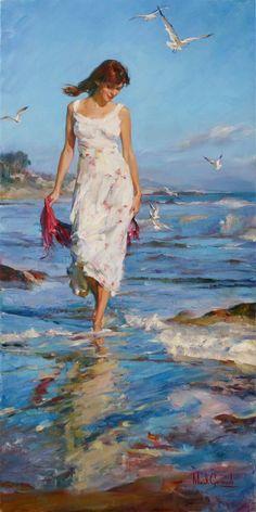 Handmade Beautiful Woman Painting Spring Time Peinture <font><b>Originale</b></font> par Michael et Inessa Garmash Seascape Oil Painting Canvas